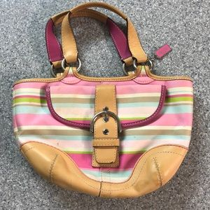 Pink and green striped Coach purse